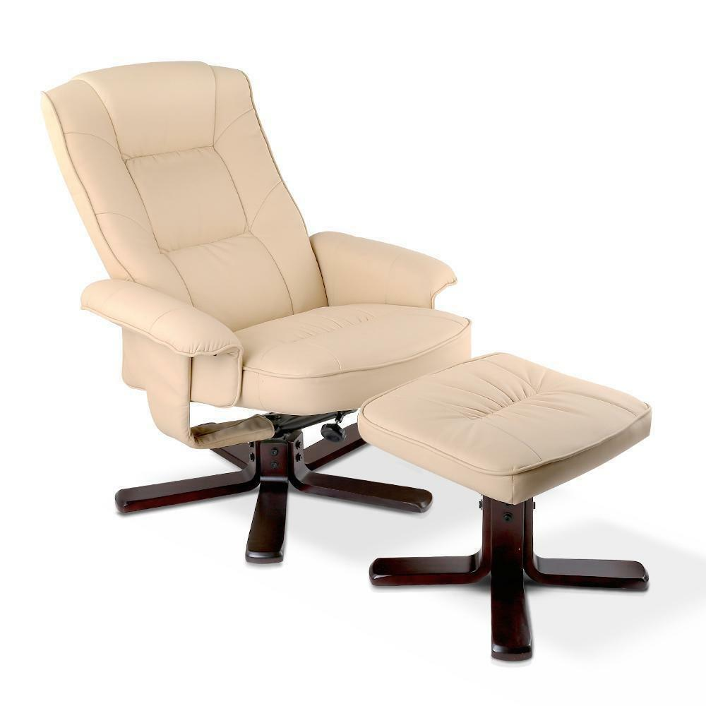 Wood Arm Chair Recliner Beige PU Leather