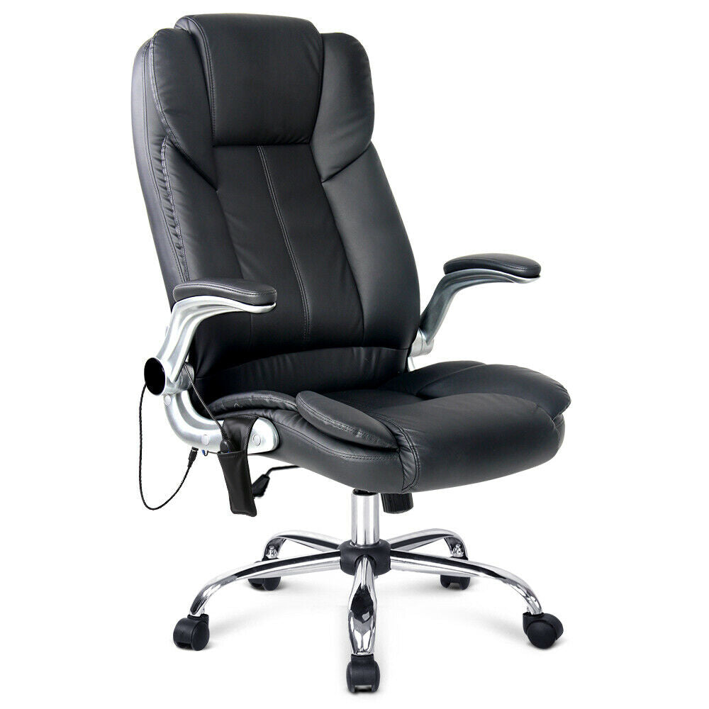 Onyx Black 8 Point PU Leather Massage Office Computer Chair