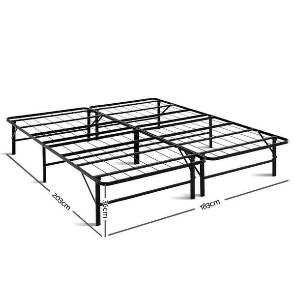 Black Metal Foldable King Size Bed Frame