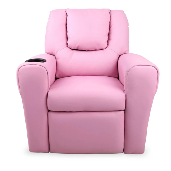 Kids Pink PU Leather Reclining Armchair