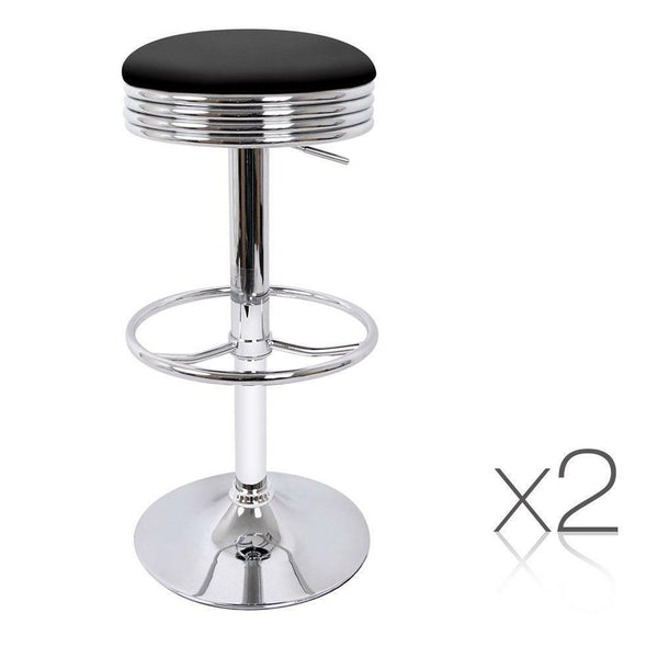 2x Swivel Round Bar Stool Orion Black Leather