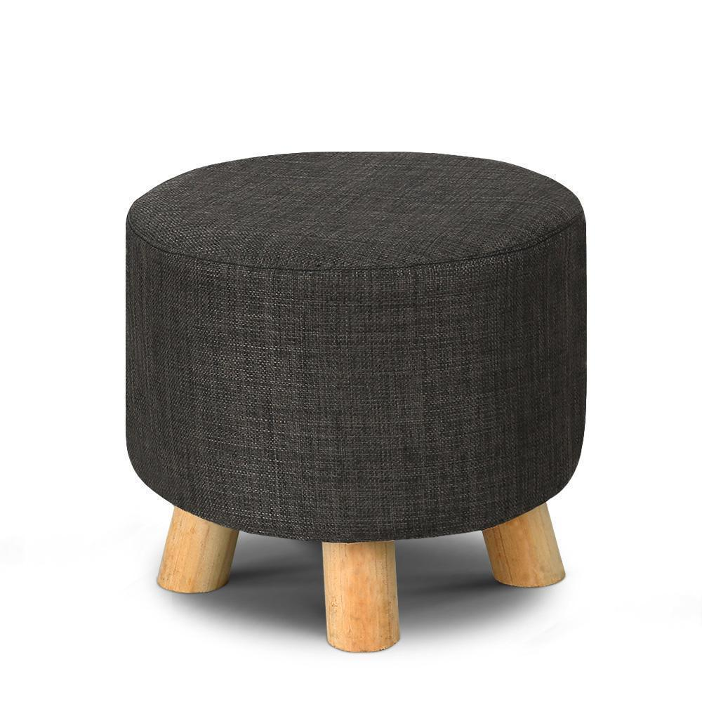 Round Ottoman Foot Stool Pine Wood Charcoal Cotton