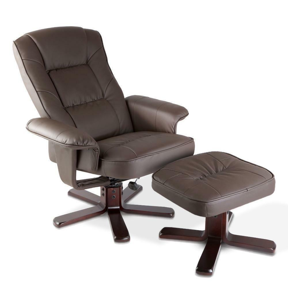 Wood Arm Chair Recliner Brown PU Leather