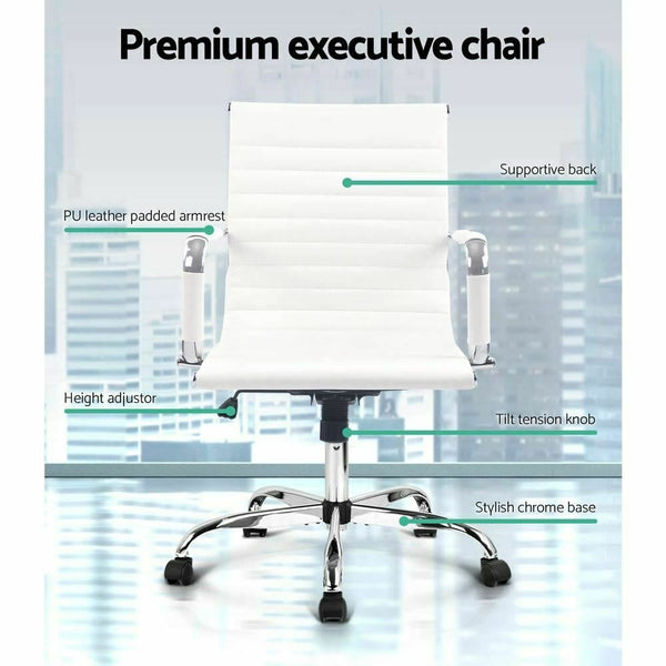 Loro White PU Leather Office Chair