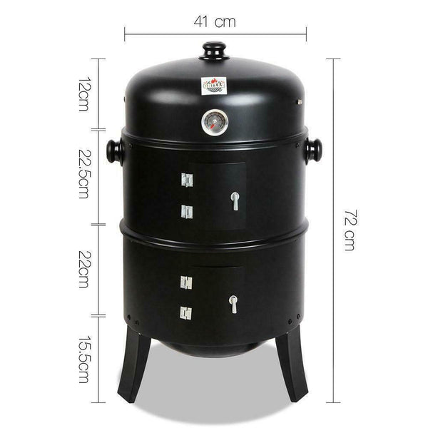 3in1 Black Charcoal BBQ Smoker