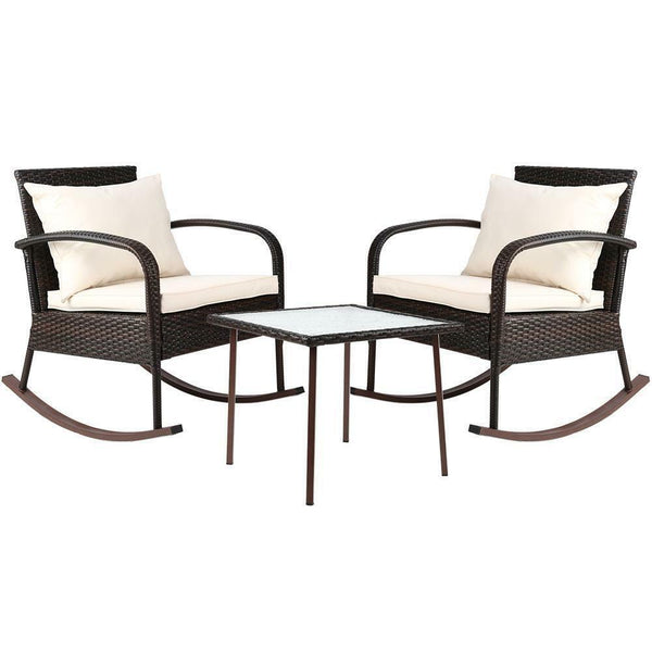 Gordon 3PC Outdoor Brown Rocking Chair Set