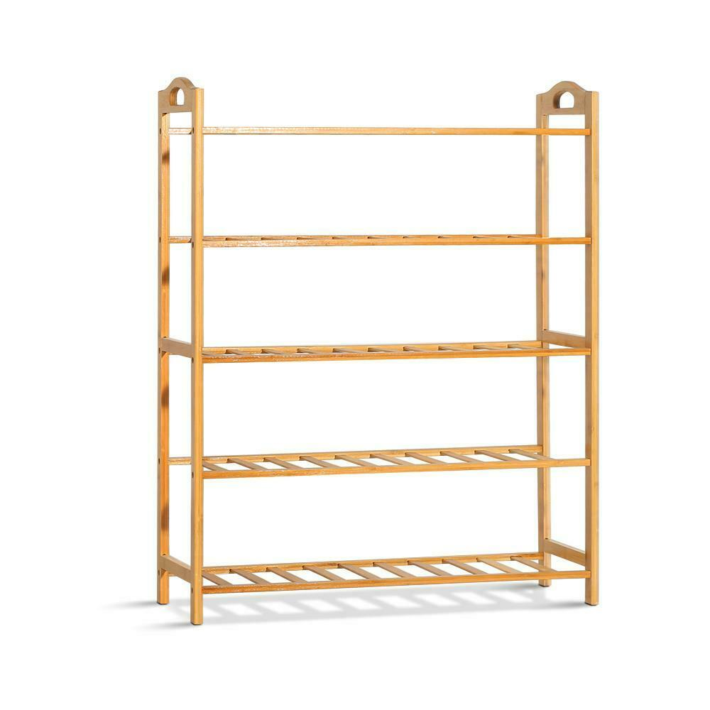 Sena 5 Tier Bamboo Shoe Rack Storage Stand Shoe Shelf