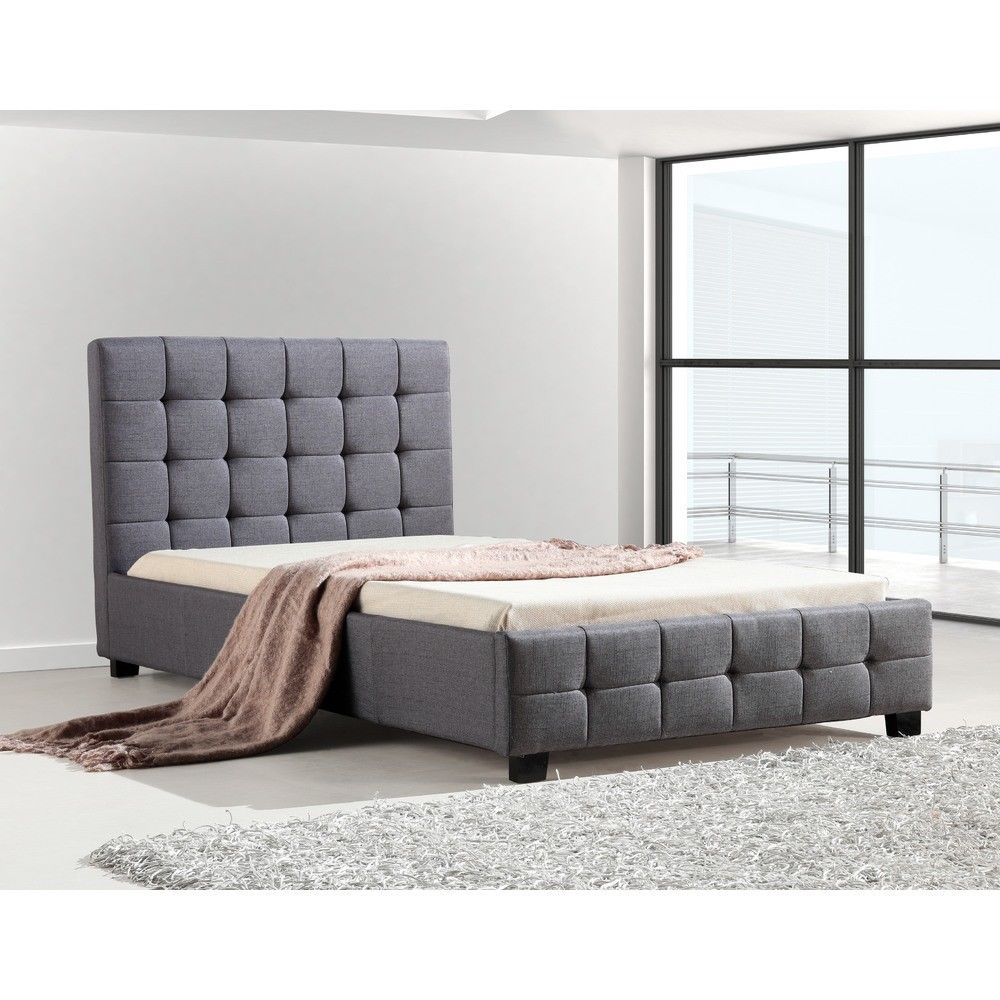 Versa Solid Grey King Single Linen Fabric Deluxe Bed Frame