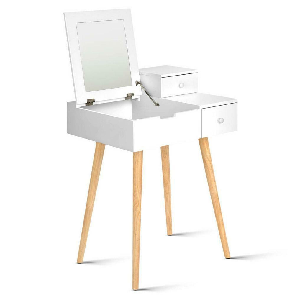 Foldable Dressing Make Up Table Vanity Mirror White