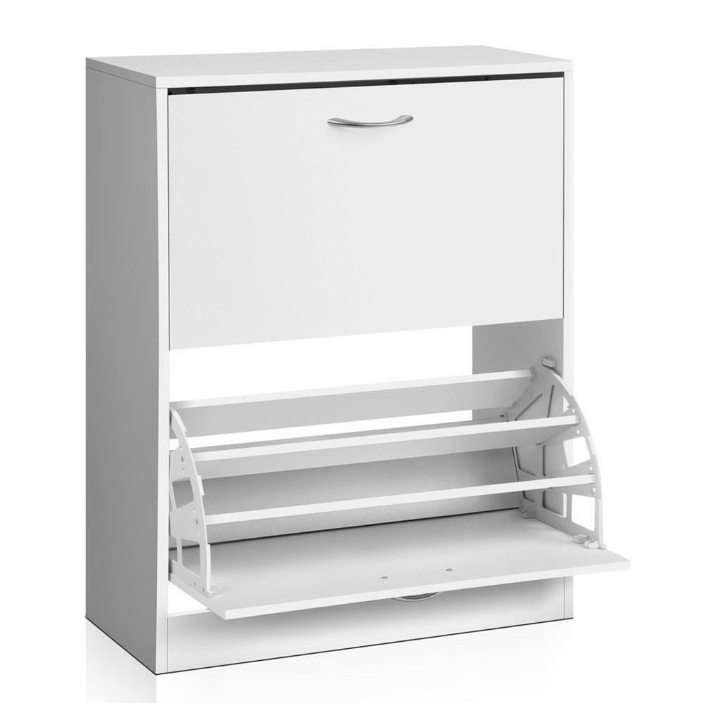 Nexan White Wooden Shoe Rack 24 Pairs Storage Cabinet