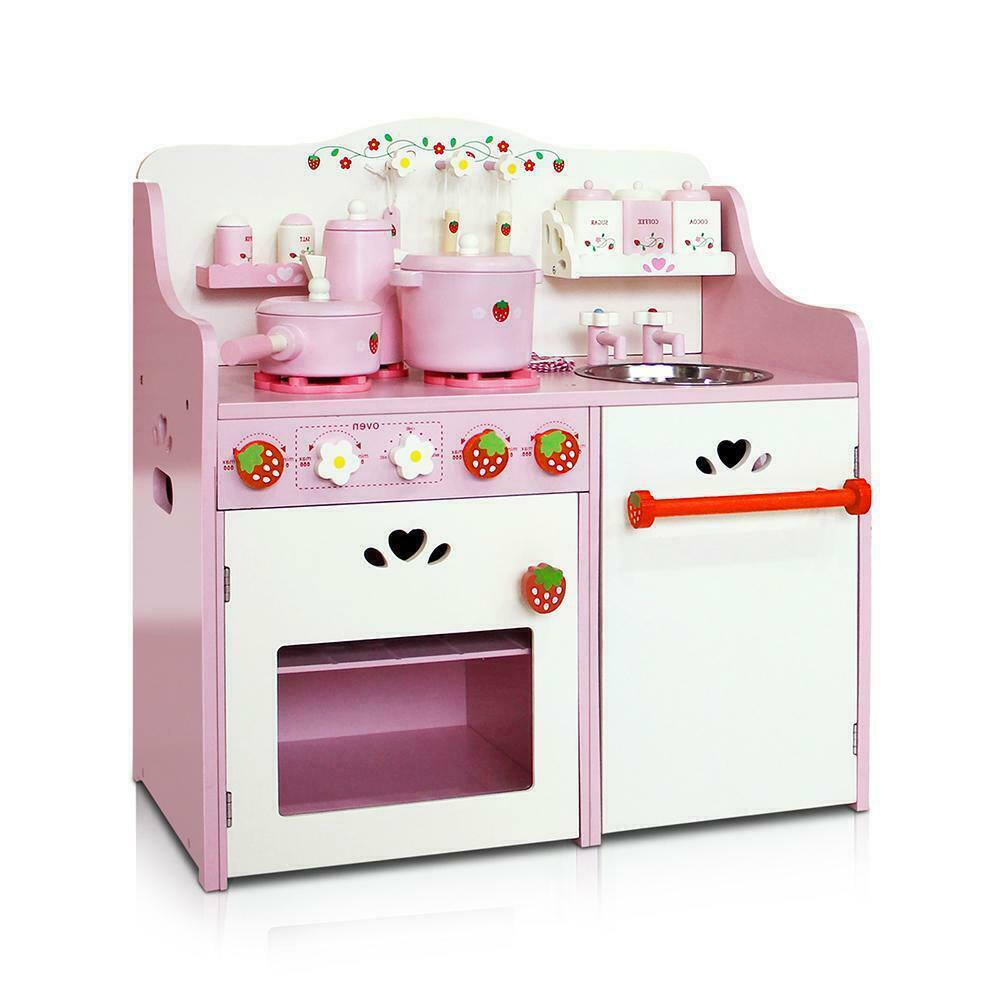Wooden Kitchen Play Set Pink