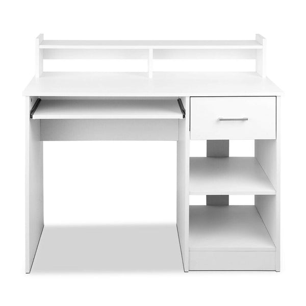 White Wooden Storage Computer Desk
