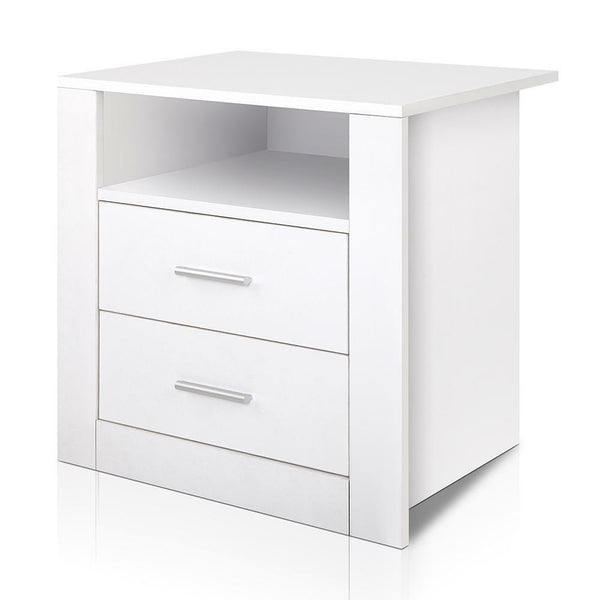 Sono White Anti Scratch 2 Drawer Bedside Table