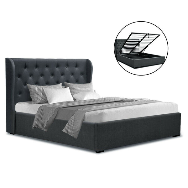 Issa Double Size Charcoal Gas Lift Bed Frame