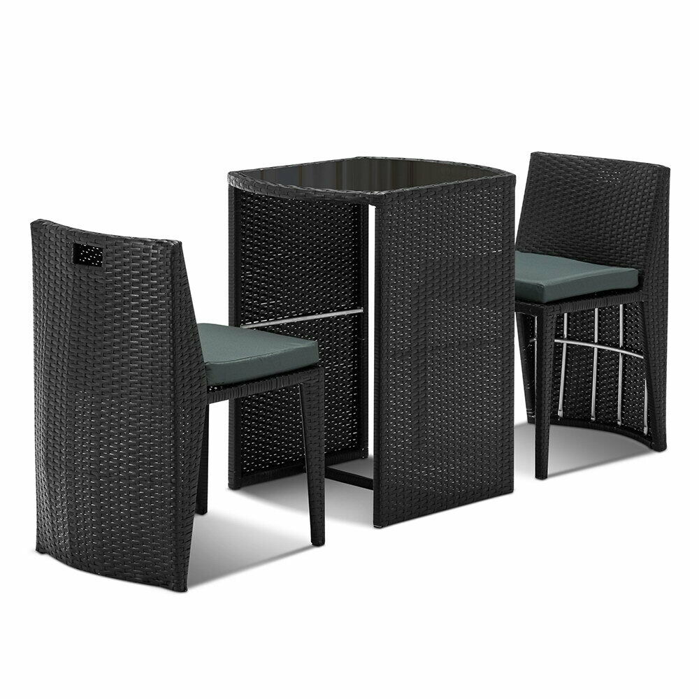 Toloss Black Outdoor Wicker Table Chair Set