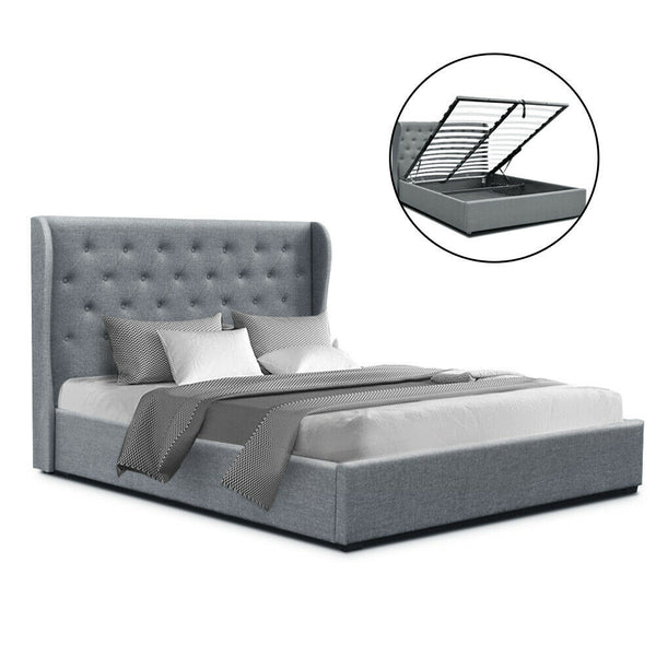 Hugo Double Size Grey Gas Lift Bed Frame