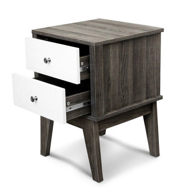 Bedside Table with Drawers White & Dark Grey