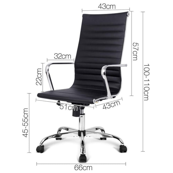 Venus Black Premium Leather High Back Office Chair