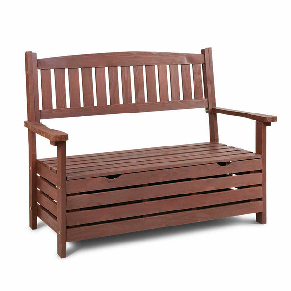 Lorin Garden Brown Wood Storage Bench Seat