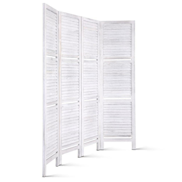 White Paulownia Wood 4 Pannel Divider