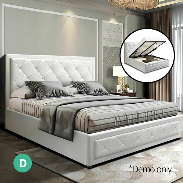 Lian Double Size White Leather Gas Lift Bed Frame