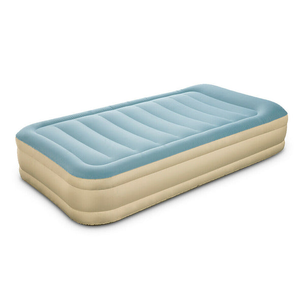 Single Size Inflatable Air Mattress Light Blue & Beige