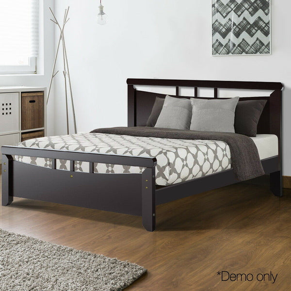 Hela Single Size Dark Cherry Wood Bed Frame