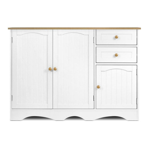 Kitchen Storage Buffet with Shelf White & Light Brown