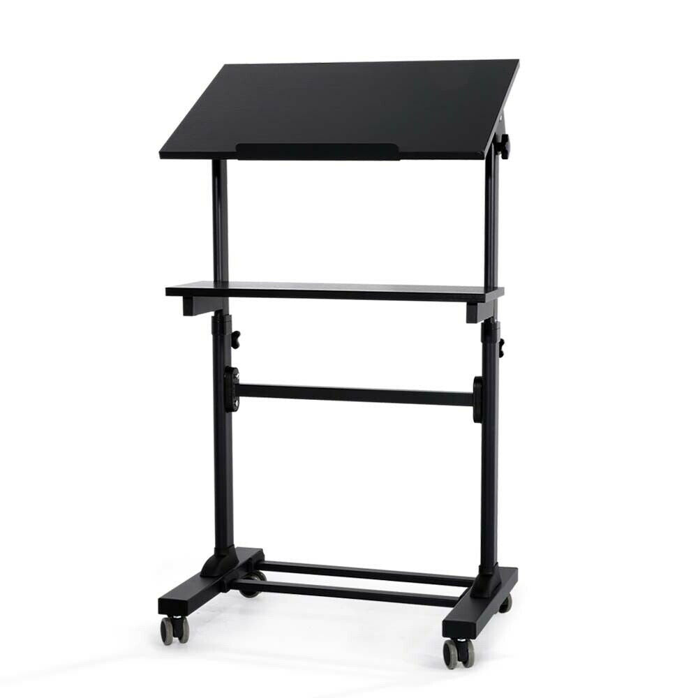 Seko Black Portable Standing Laptop Desk On Wheels