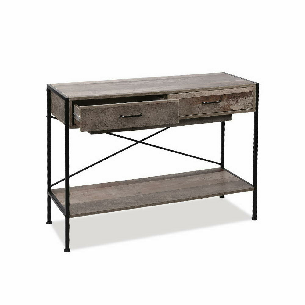 Varto Industrial Timber Hallway Drawer Console Table