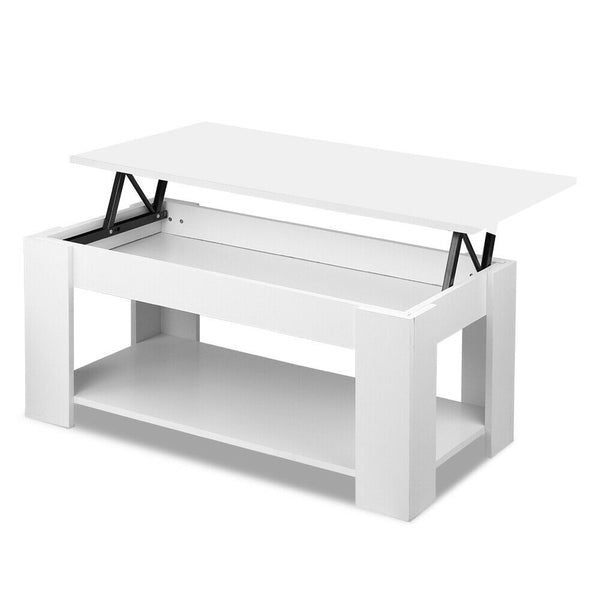 Nicode White Wooden Lift Up Coffee Table