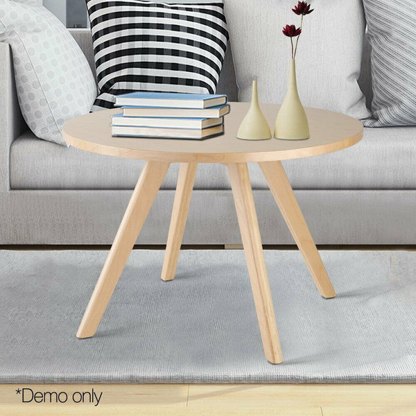 Round Wooden Coffee Table Beige