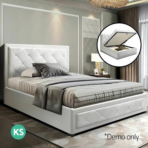 Lian King Single White Leather Gas Lift Bed Frame