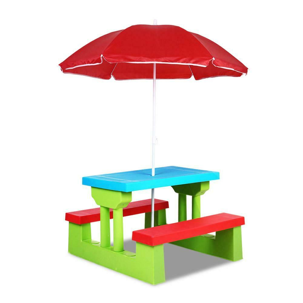 Lezy Green Outdoor Picnic Table Bench With Umbrella for Kids