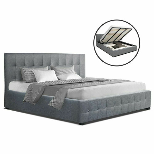 Rover Grey King Size Gas Lift Bed Frame
