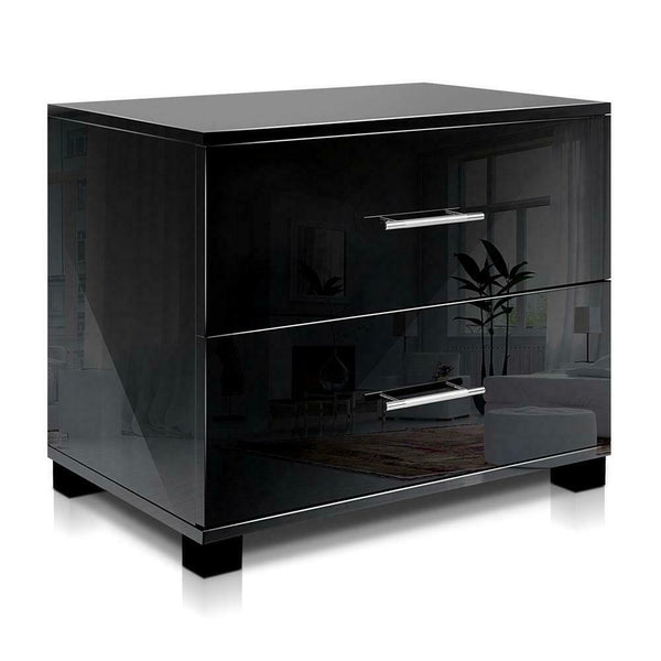 Mondeo Black 2 Drawer High Gloss Bedside Table