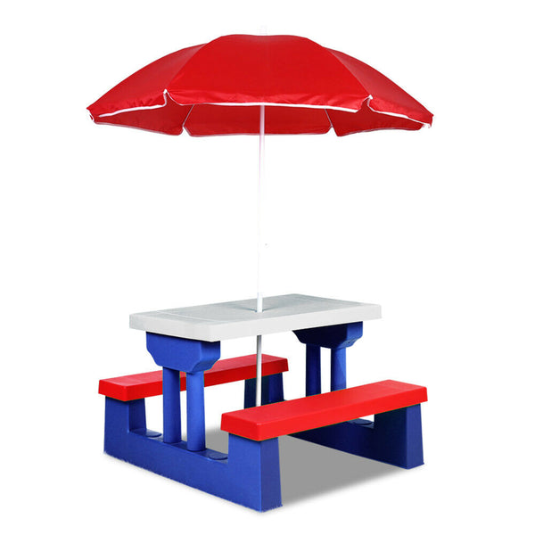 Lezy Blue Outdoor Picnic Table Bench With Umbrella for Kids