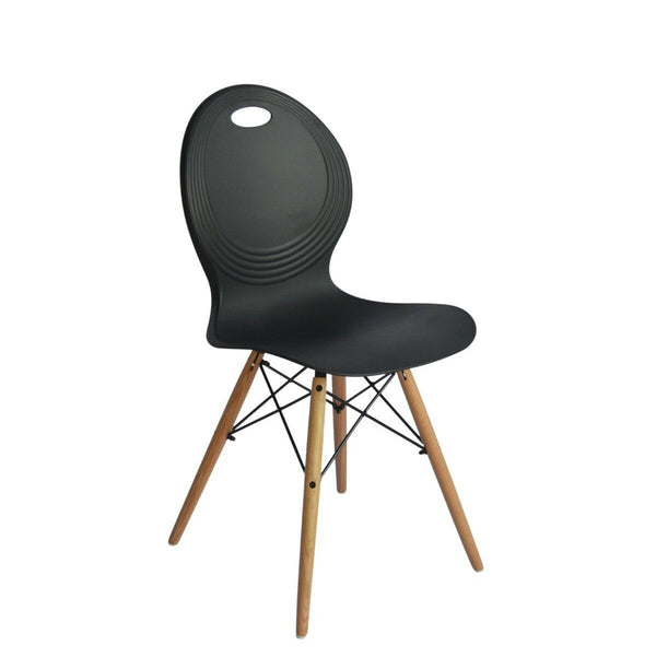 2x Trens Solid Black Dining Chair