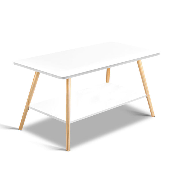 Reno White 2 Tier Wooden Coffee Table