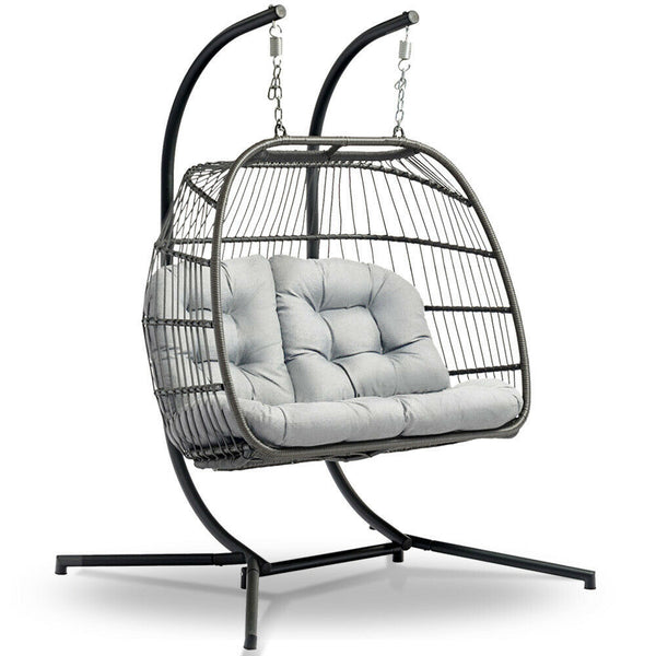 Loron Outdoor Grey Double Hanging Swing Chair