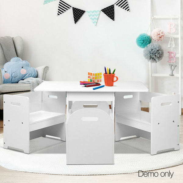 Mylene White Kids Table Chair Set With Storage Box