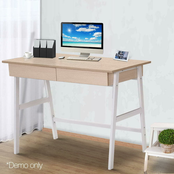Nevo Oak 2 Drawer Metal Computer Desk