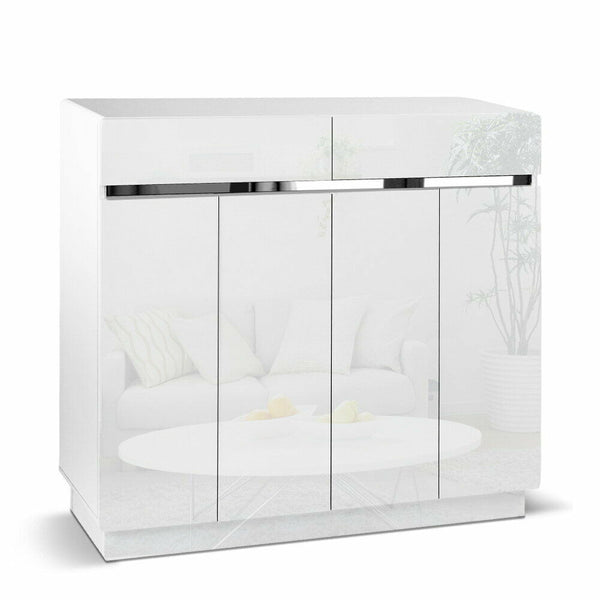 Hugo White High Gloss Shoe Cabinet