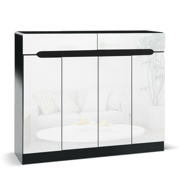 Nada White Black High Gloss Shoe Cabinet