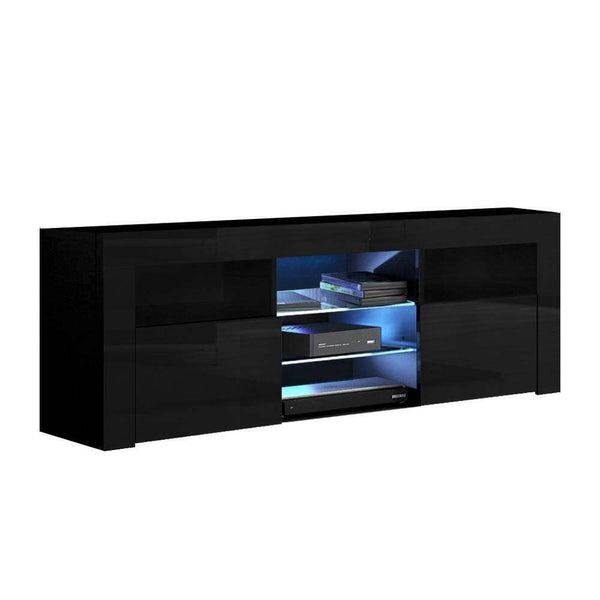 Veno Black High Gloss LED TV Entertainment Unit