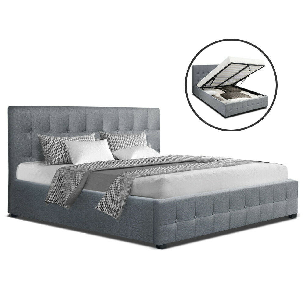 Rover Grey Queen Size Gas Lift Bed Frame