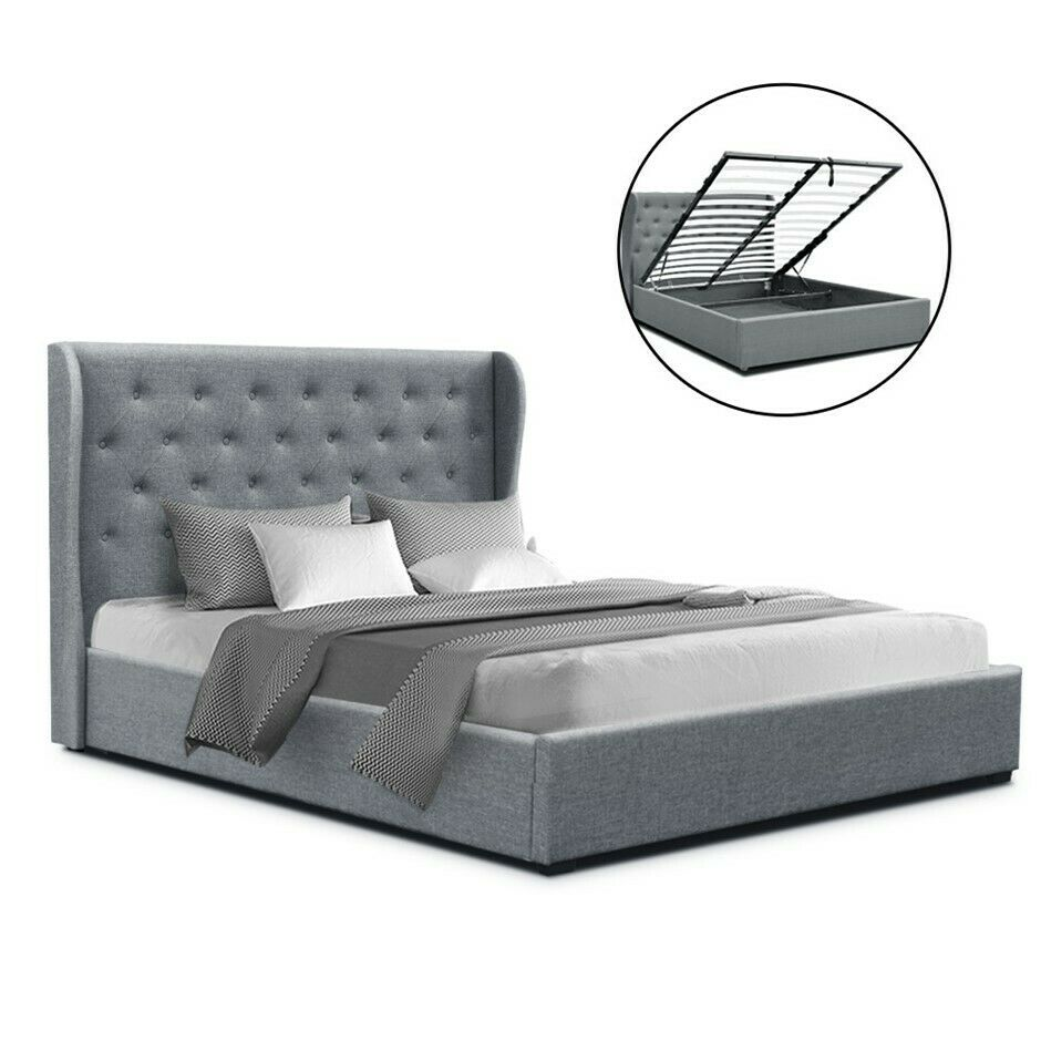 Issa Queen Size Grey Gas Lift Bed Frame