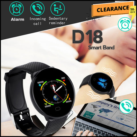 Buy new d18 bluetooth smart watch men and women blood pressure round watch ip67 waterproof d18 smartband at best online shopping store Rhizmall.pk d18 smartwatch price in pakistan d18 smart band reviews