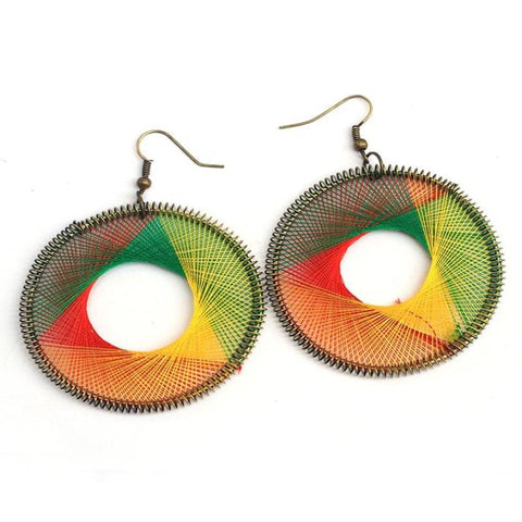 Multi Colored Beneta Thread Stylish Oval Earring - RHIZMALL.PK Online Shopping Store.