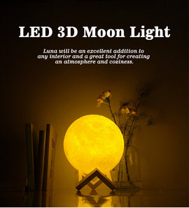 Rechargeable 3D Print Moon Lamp 2 Color Change Touch Switch - RHIZMALL.PK Online Shopping Store.